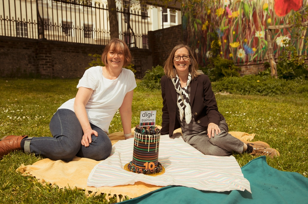 digi-training co-founders Clare Davey and Catherine Whiteoak with their 10th birthday cake